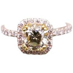 14 Karat Rose Gold EGL .93pts, Natural Light Yellow Diamond Halo Ring