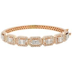 14 Karat Rose Gold Emerald and Round Cut Diamonds Bangle 3.50 Carat