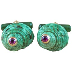 14 Karat Rose Gold Emeralds Green Shell Jade Cufflinks