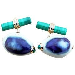 14 Karat Rose Gold Emeralds White Purple Shell Malachite Cufflinks