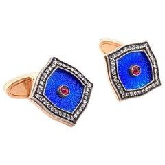 14 Karat Rose Gold Enamel Diamond and Ruby Russian Crafted Cufflinks