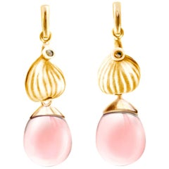 14 Karat Rose Gold Fig Cocktail Earrings with Rose Quartzes, Featured in Vogue