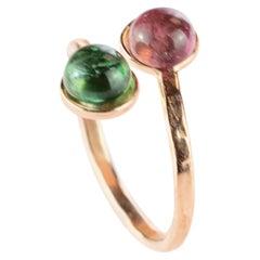 14 Karat Rose Gold Filled Pink Green Cabochon Tourmaline Contrarie Spiral Ring
