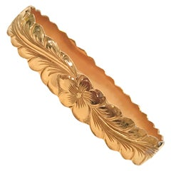 14 Karat Rose Gold Floral Bangle Hawaiian Bracelet