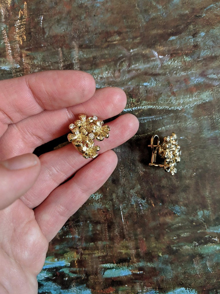 14 Karat Rose Gold Flowers Cocktail Earrings by the Artist with Diamonds For Sale 1