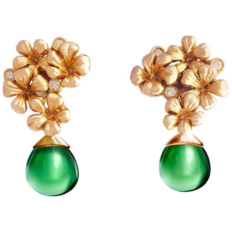 14 Karat Rose Gold Flowers Cocktail Earrings by the Artist with Diamonds For Sale