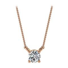 14 Karat Rose Gold Four Prong Solitaire Diamond Pendant 'Center - 1/5 Carat'