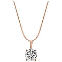 14 Karat Rose Gold Four Prongs Natural Diamond Pendant '1 1/2 Carat'