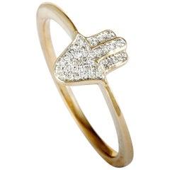 14 Karat Rose Gold Full Diamond Small Hamsa Ring