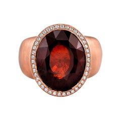 14 Karat Rose Gold Garnet Diamond Fashion Ring