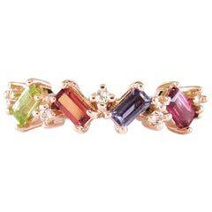 14 Karat Rose Gold Garnet, Iolite, Peridot, Pink Tourmaline and Diamonds Ring