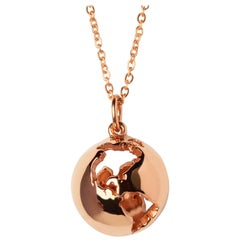 14 Karat Rose Gold Globe Map Pendant Necklace