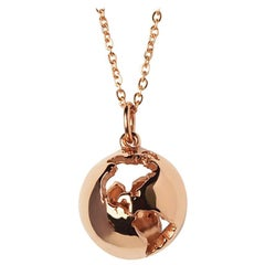 14 Karat Rose Gold Globe Map Pendant Necklace with Diamond Customization
