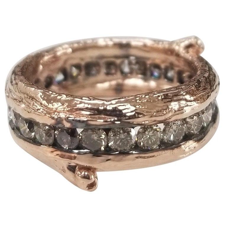 14 Karat Rose Gold Gresha Signature Bark and Diamond Eternity Ring For Sale