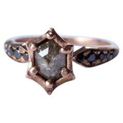 14 Karat Rose Gold Hexagon Diamond Ring