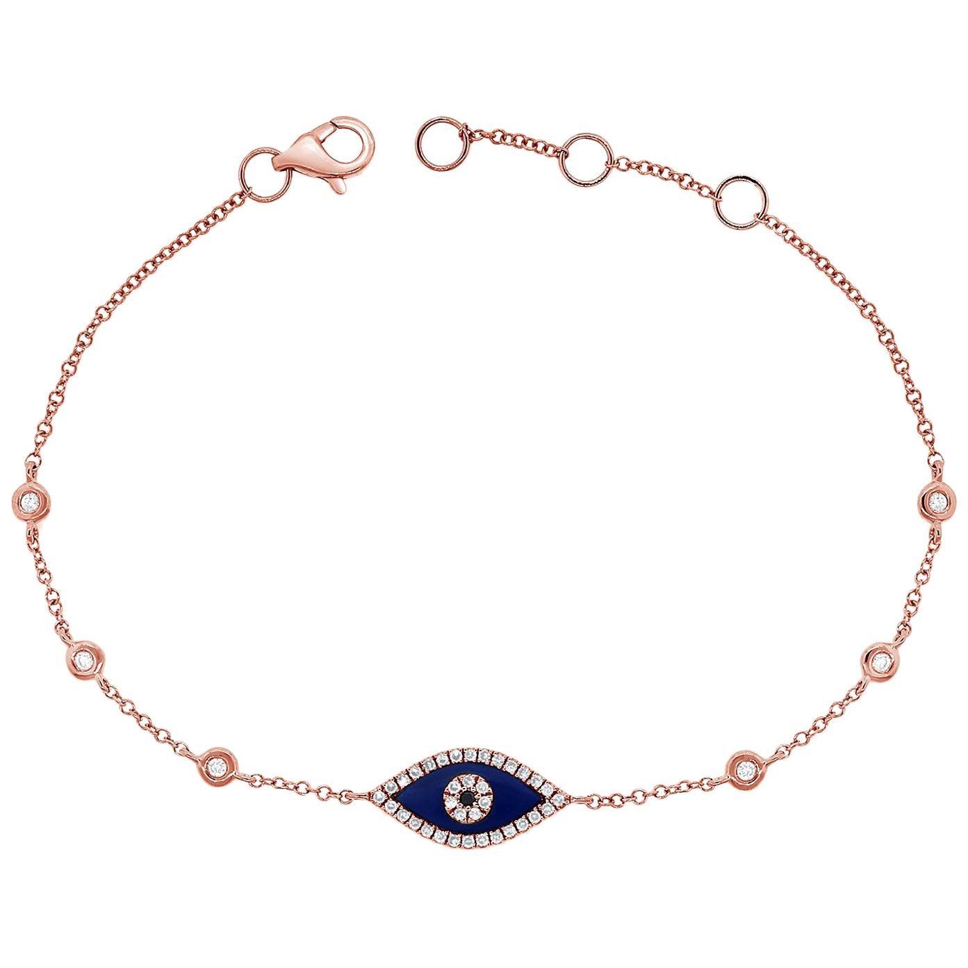14 Karat Rose Gold Lapis Lazuli and 0.19 Carat Diamond Evil Eye Bracelet