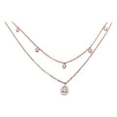 14 Karat Rose Gold Layered Marquise Diamond Necklace