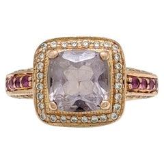 14 Karat Rose Gold Le Vian Amethyst Diamond Pink Sapphire Ring