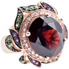 14 Karat Rose Gold LeVian Garnet, Tsavorite, and Vanilla Topaz Ring