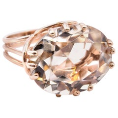 14 Karat Rose Gold Light Green Quartz Ring