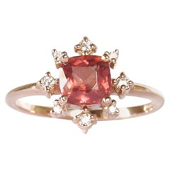 14 Karat Rose Gold Malaya Garnet and Diamonds Ring