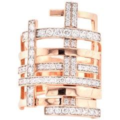 14 Karat Rose Gold Modern Geometric Diamond Ring
