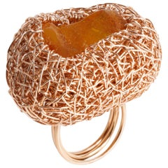 Rose Gold Woven Natural Baltic Amber Cocktail Ring by Sheila Westera in Stock
