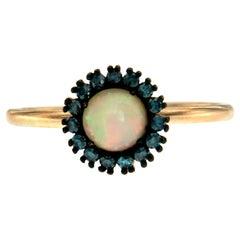 14 Karat Rose Gold Opal Colored Diamond Ring