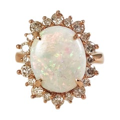 Rose Gold, Natural Opal Cocktail Ring