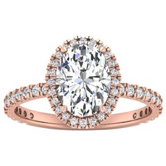 14 Karat Rose Gold Oval Diamond Halo Pavé 2 Carat Center '2.4 Carat' I SI1 GIA