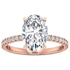 14 Karat Rose Gold Oval Diamond with Pavé 2.5 Carat Center '2.8 Carat' L SI2 GIA