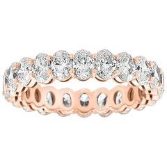14 Karat Rose gold Oval Eternity Diamond Ring '3 Carat'