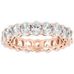 14 Karat Rose Gold Oval Eternity Diamond Ring '4 Carat'