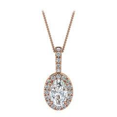 14 Karat Rose Gold Oval Halo Diamond '1/2 Carat'