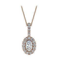 14 Karat Rose Gold Oval Halo Diamond '1/3 Carat'