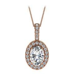 14 Karat Rose Gold Oval Halo Diamond '3/4 Carat'