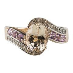 14 Karat Rose Gold over Sterling Silver Morganite Fashion Ring