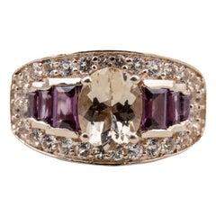 14 Karat Rose Gold over Sterling Silver Multi Stone Fashion Ring