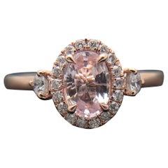 14 Karat Rose Gold Pink Sapphire and Diamond Ring