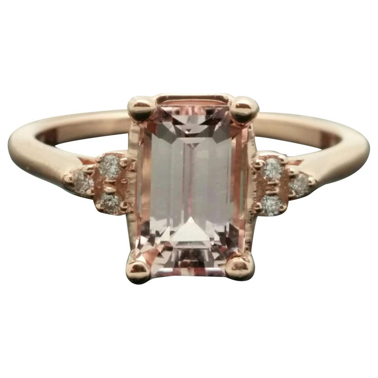 14 Karat Rose Gold Pink Sapphire and Diamond Ring For Sale