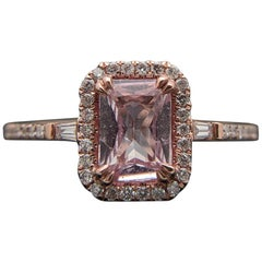 14 Karat Rose Gold Pink Sapphire and Diamonds Ring