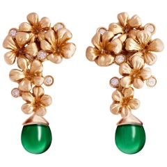 14 Karat Rose Gold Plum Blossom Artisan Clip-On Earrings with Diamonds