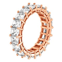14 Karat Rose Gold Radiant Eternity Diamond Ring '6 Carat'