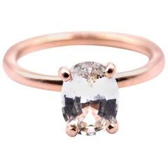 14 Karat Rose Gold Rare Mind Green Sapphire Solitaire Ring