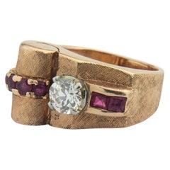 14 Karat Rose Gold, Retro Period, Ruby and Diamond Ring