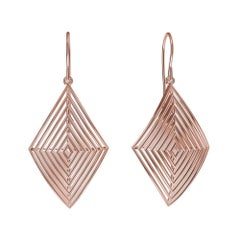 14 Karat Rose Gold Rhombus Row Earrings