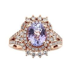 14 Karat Rose Gold Ring Natural Pink Tanzanite and Diamond