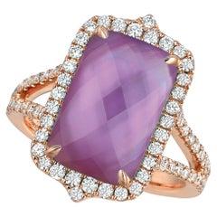 14 Karat Rose Gold Ring w/Cushion Amethyst, Mother of Pearl & Diamonds 2/3 Carat