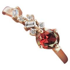 14 Karat Rose Gold Ring with Burmese Spinel and Diamonds
