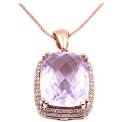 14 Karat Rose Gold Rose De France Amethyst and Diamond Pendant Necklace